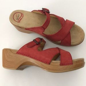 Dansko Nubuck Wedge Slip on Sandals
